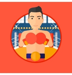 Confident boxer in gloves vector image vector image