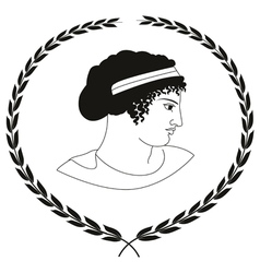 Decorative logo with head of ancient Greek women vector image