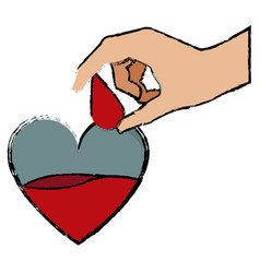 Hand holding drop blood heart donate campaign vector