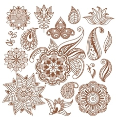 Henna tattoo Mehndi Abstract floral vector image vector image