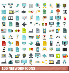 100 network icons set flat style vector image vector image