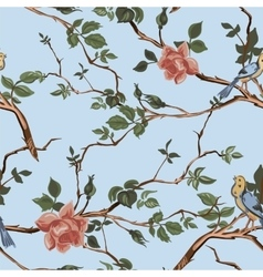 Rose blossom branches with bird seamless pattern vector image vector image