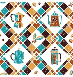 Seamless pattern Argyle and Coffee jugs vector image vector image