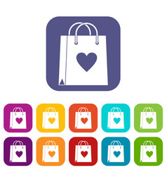 shopping bag icons set flat vector image