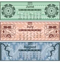 Calendar 2014 Summer vector image vector image
