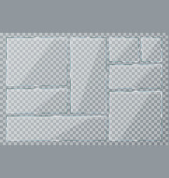 glass plate set on transparent background clear vector image