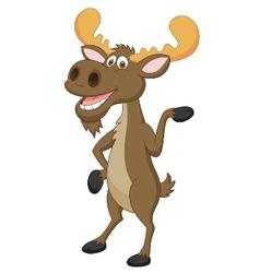 Moose cartoon waving vector