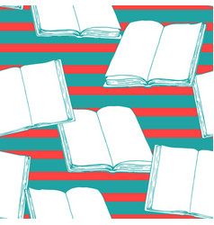 seamless vintage pattern with books vector image vector image