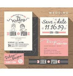 Trendy wedding invitation set design template vector