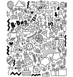 0070 hand drawn party doodle happy birthday vector
