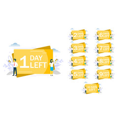 1 day left announcement flat style design vector