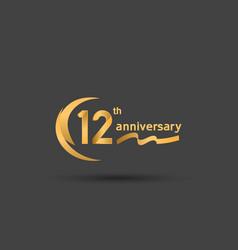 12 years anniversary logotype with double swoosh vector