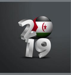 2019 grey typography with western sahara flag vector