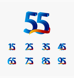 55 years anniversary celebration number blue vector