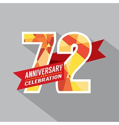 72nd Years Anniversary Celebration Design vector image vector image