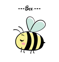 a little shy bee bee text vector image
