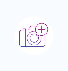 Add photo icon with camera line vector