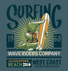 alligator wave rider surf team vector image