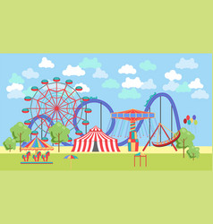 Amusement park urban landscape with carousels vector