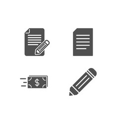 article document and money transfer icons pencil vector image