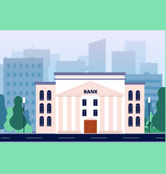 bank in city business urban landscape with bank vector image