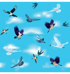 Birds are flying in the sky as seamless pattern vector image