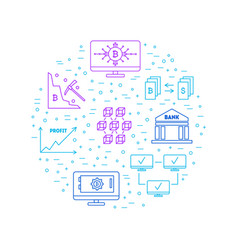 blockchain thin line color signs round design vector image