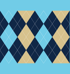 Blue beige argyle seamless pattern vector