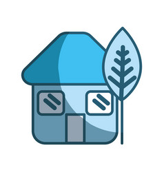 Blue eco house with leaf plant vector