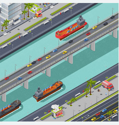 Bridges in city isometric composition vector