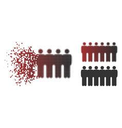 Broken pixelated halftone people demographics icon vector