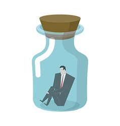 Businessman in glass jar Boss in bottle Desperate vector