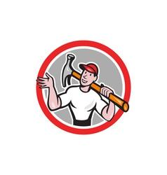 Carpenter Builder Hammer Circle Cartoon vector