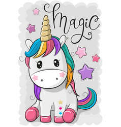Cartoon unicorn isolated on a gray background vector