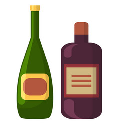 Champagne and liqueur in bottles alcohol drink vector