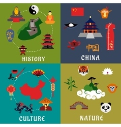 China history culture and nature icons vector