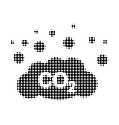 co2 gas emission halftone dotted icon vector image