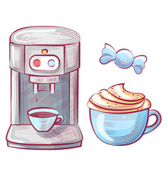 coffee making machine and cup beverage candy vector image