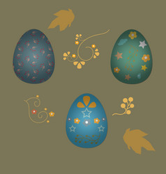 collection of colorful happy easter eggs with vector image