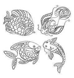 coloring pages for children and adults with set vector image