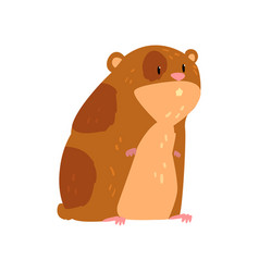 Cute cartoon hamster character funny brown rodent vector