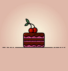 Delicious chocolate cake with a cherry on top flat vector