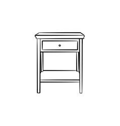 desktop with shelves hand drawn sketch icon vector image