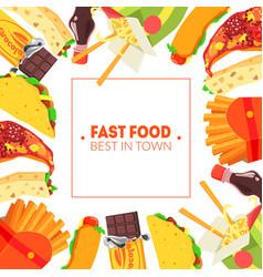 fast food banner template restaurant cafe design vector image