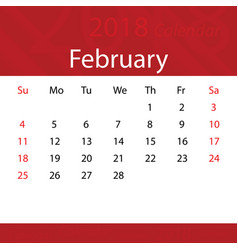 february 2018 calendar popular red premium for vector image
