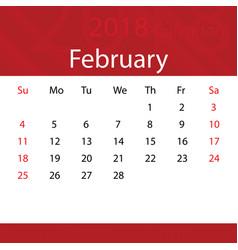 february 2018 calendar popular red premium vector image