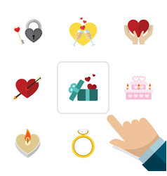 flat icon love set of heart key gift and other vector image
