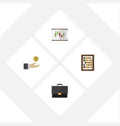 Flat incoming set of hand with coin portfolio vector