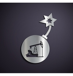 Flat metallic logo pump for oil vector