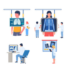fluorography lungs checkup procedure set flat vector image